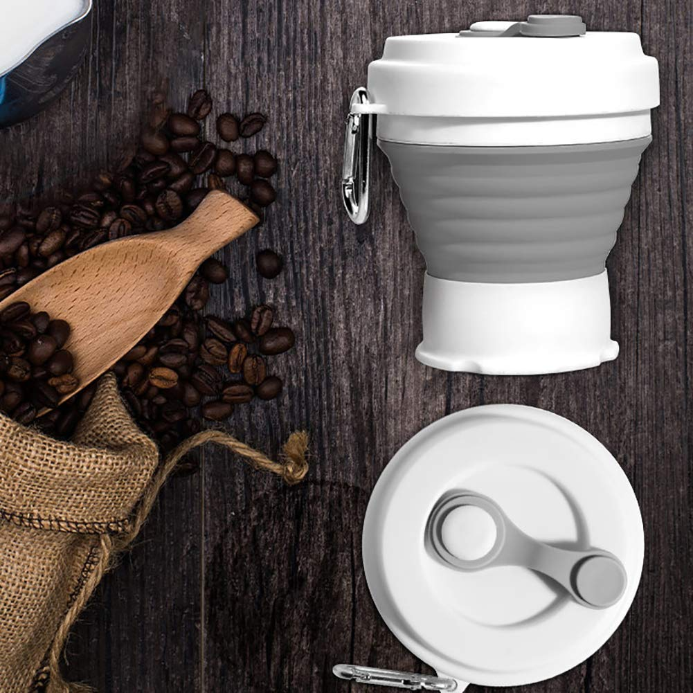 BONNIO Silicona Plegable de Viaje Taza de Silicona Plegables Taza de Camping con Tapas expandible Taza de Beber Set Portable