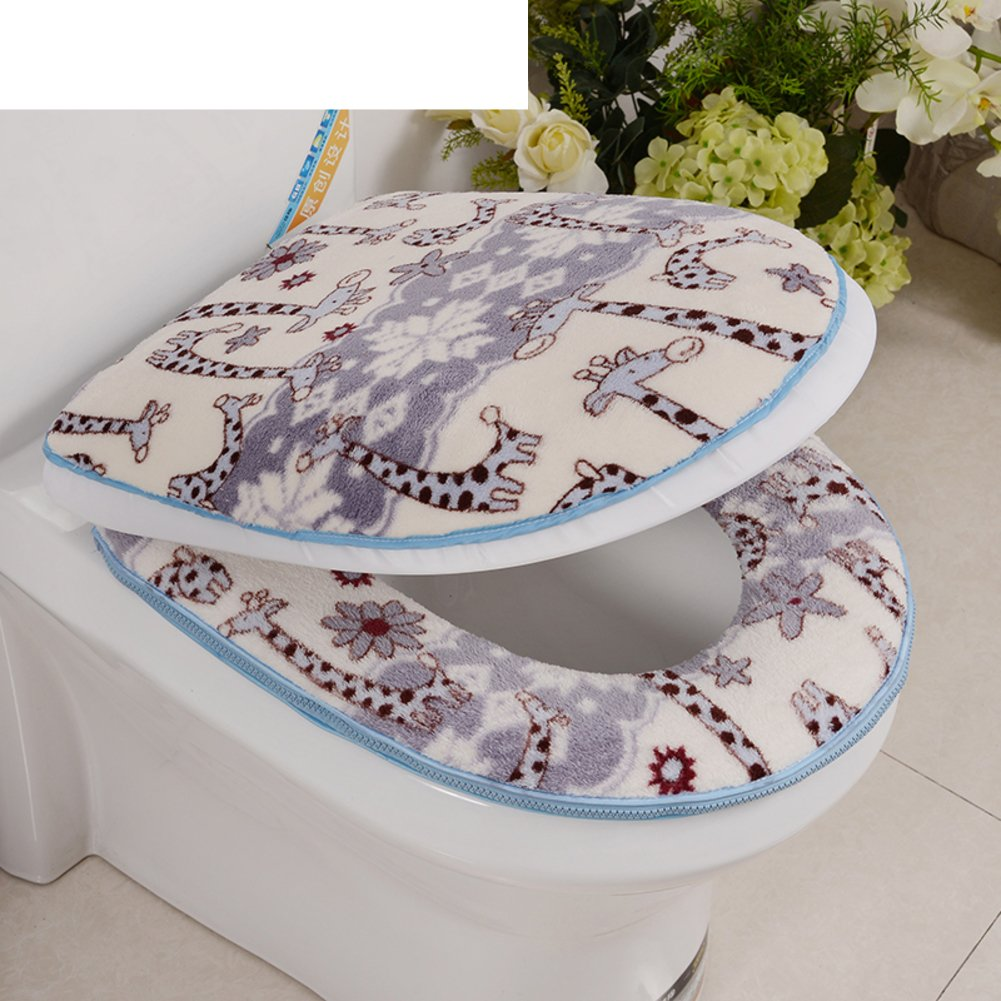 Toilet cushion,Luxury toilet seat cover 2 Pack set (Lid cover & Tank cover) Bathroom zipper super warm soft comfy -Eseat Cover machine washed Thicken