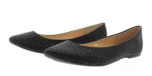 79195f8d504 Cordette Womens Cute Rhinestone Jewel Ballet Flat Shoe