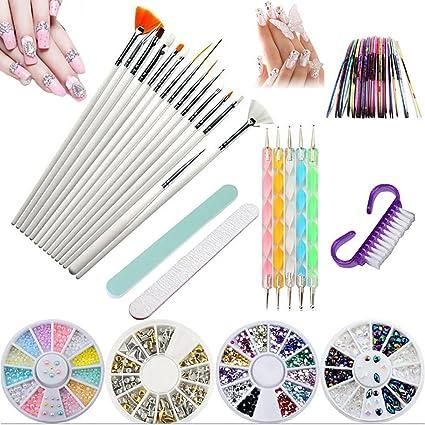 Kit de herramientas para manicura de uñas, pinceles para pintar uñas, pinceles de punto, uñas de estrás, decoración de pegatina, cinta adhesiva para pedicura, 37 unidades: Amazon.es: Belleza