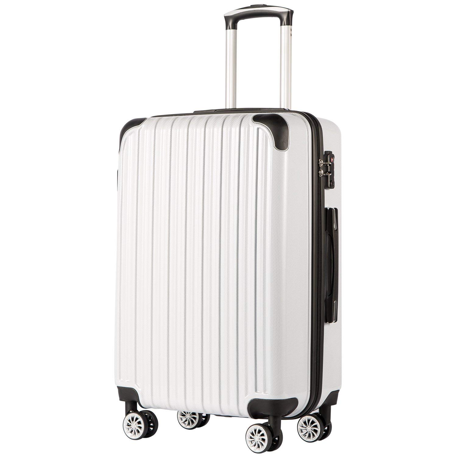 COOLIFE Luggage Expandable only 28 Suitcase PC ABS Spinner 20in 24in 28in Carry on White Grid New, S 20in _Carry on