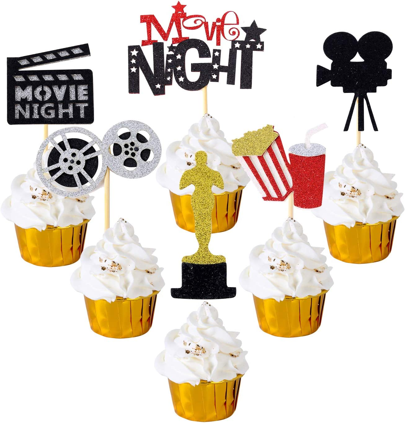 Movie Theatre Time Party Pack/… Movie Night Decorations Popcorn Star Foil Balloons for Hollywood Oscar Themed