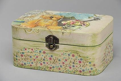 Caja rectangular de madera con decoupage