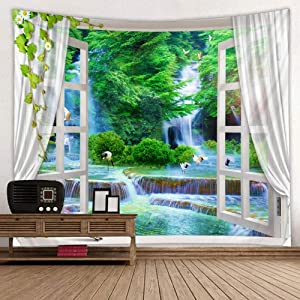 BROSHAN Nature Landscape Tapestry, Green Lush Forest Jungle Waterfall Lake Birds Nature Window Scene Tapestry Fabric Wall Hanging for Living Room Dorm Wall Decor Blanket Large