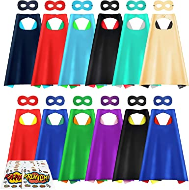 Dress Up Costume for Birthday Party AIMIKE Superhero Capes and Masks with Superhero Stickers 24 Sets Bulk Pack Kids Capes