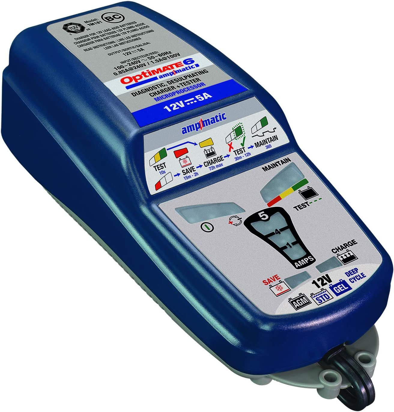 OptiMATE 6 Ampmatic, TM-181, 9-step 12V 5A sealed battery saving charger & maintainer
