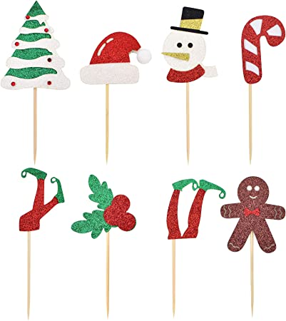 Xmas Cake Topper Christmas Elf Cupcake Toppers Hat,Shoes //// Glitter Qty12