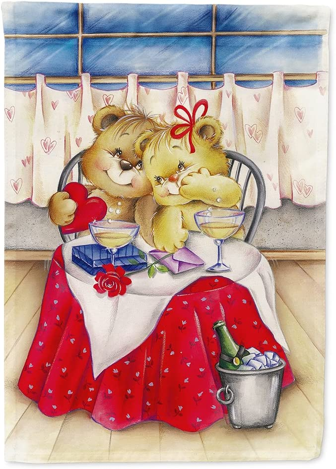 Caroline's Treasures APH0926GF Teddy Bears in Love Valentine's Day Flag Garden Size, Small, Multicolor