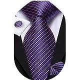 Hi-Tie Mens Silk Purple Plaid Necktie and Pocket Square Cufflinks Set