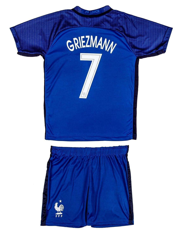 フランスサッカーユースジャージーセット● ●ホームジャージー● Euro 16 ● # 7 Griezmann B07BNPQZ4B 6-7 ages ● Medium|Griezmann (グリーズマン) (ユーロ16ホーム) 6-7 ages ● Medium