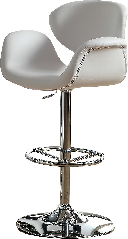 Furniture of America Celina Modern Leatherette Swivel Bar Stool, White