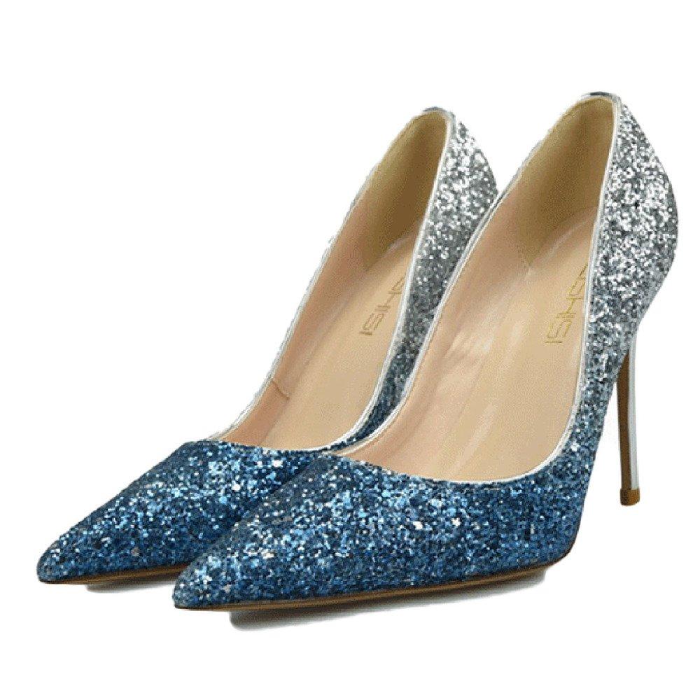 damen Stiletto High Heel Heel Heel Geschlossene Zehe Court Schuhe Arbeiten Schuhe Clubbing Gradient Pailletten Sexy Party Hochzeit Schuhe,Blau-35 be8c89