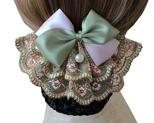 Victorian Wigs, Hand Fan, Purse, Gloves Accessories Bowknot Pearl Mesh Elastic Snood Net Hairnets Barrette Hair Clip Accessories Decor Bun Cover Green  Two ways to wear $9.99 AT vintagedancer.com