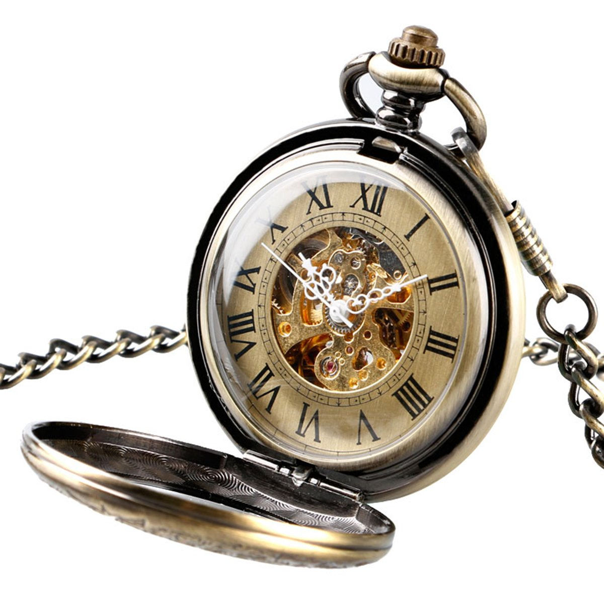 Retro Mens Pocket Watch Magnifier Half Hunter Steampunk Skeleton Mechanical With Chain + Gift Box