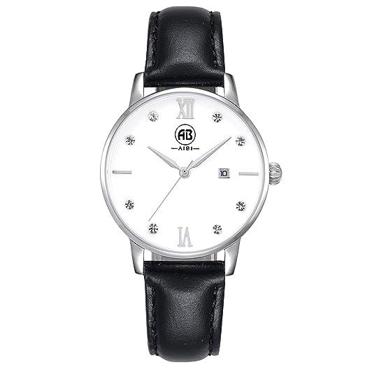 Fendior Mujer Reloj de cuarzo cristales de Lady de piel negro muñeca relojes para las niñas, impermeable con fecha: Amazon.es: Relojes