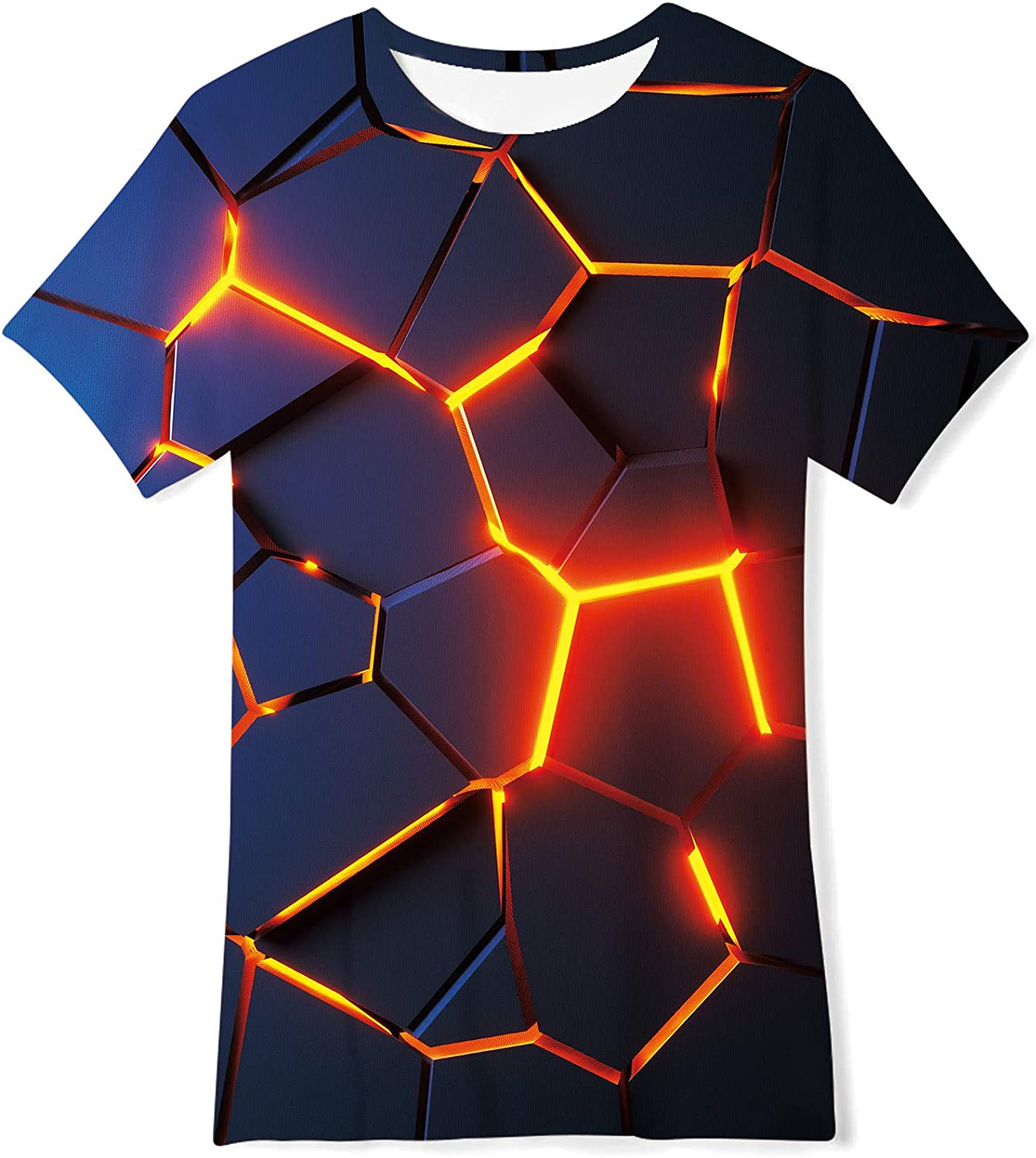 Loveternal Kids Novelty 3D Graphic T Shirts O-Neck Pullover Tees Summer Cool Funny Short Sleeve T Shirts 6-14 Years