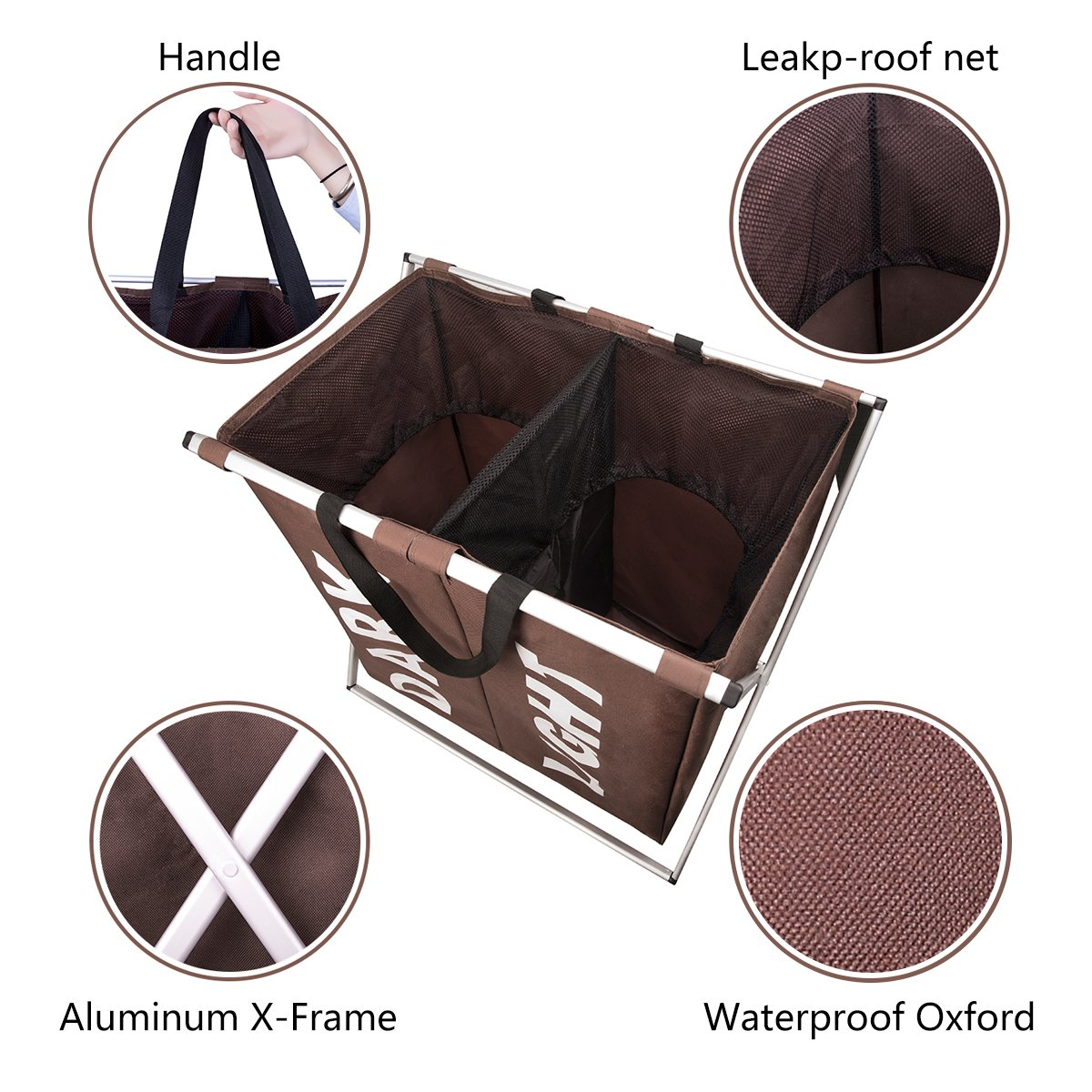 Chrislley X-frame Double Laundry Basket 2 Section Oxford Dirty Laundry Hamper Sorter Waterproof with Handles (Coffee)