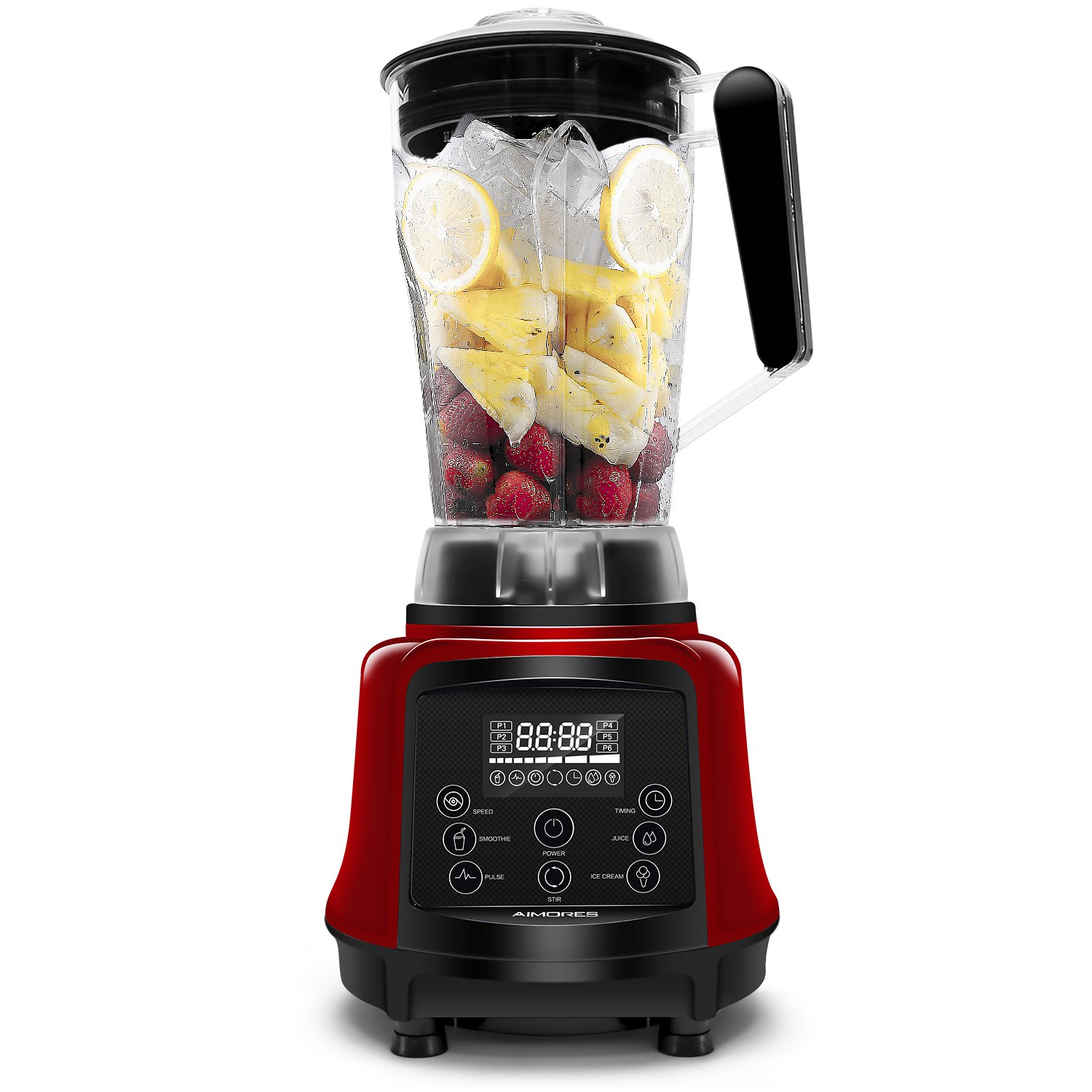 Aimores Commercial Blender for Shakes and Smoothies, Food Processor, 3-in-1 75oz High Speed Programmed Juice Blender, Smoothie Maker for Ice, 6 Sharp Blades, with Tamper & Recipe, ETL/FDA (Red)