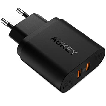 AUKEY Quick Charge 3.0 Cargador de Pared USB de Doble Puerto 39W para iPhone, LG, iPhone, iPad, Nexus y más