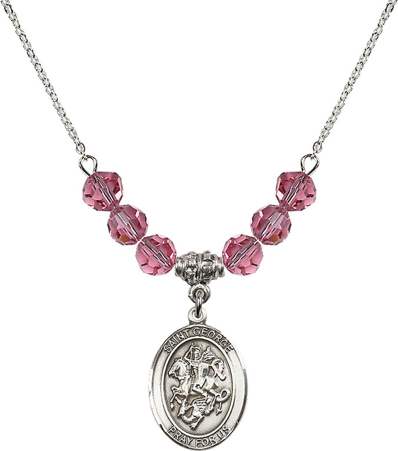 Bonyak Jewelry 18 Inch Rhodium Plated Necklace w// 6mm Rose Pink October Birth Month Stone Beads and Saint George Charm
