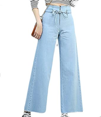 YLcabin High Waist Loose Fit Casual Fashion Palazzo Pants Jeans at ... 7863618e9818