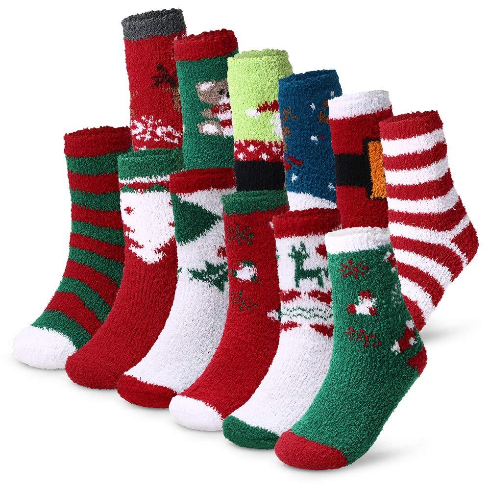 Color-1 Explopur Calcetines Navide/ños Calcetines C/álidos para Adultos Calcetines Estampados de Vacaciones de Navidad Calcetines Absorbentes Y Acogedores de Invierno Calcetines Coloridos