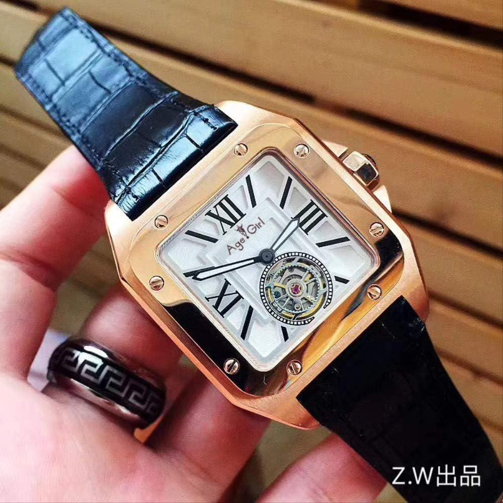 PLKNVT Los Nuevos Hombres Reloj Mecánico Automático Oro Marrón Cuero Negro Tourbillon Sapphire Glass Back Limited Sport Square