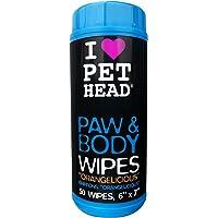 Pet Head Chien My Paws Rock Boîte de 50 Lingettes pour Pattes, Museau et Arrière-Train Parfum Orange Délicieuse