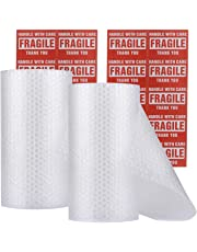 "enKo Bubble Cushioning Wrap Roll for Packing Moving Shipping Supplies - (2 Pack, 3/16"", Total: 12"" x 72 ft) - (36""/Roll) Perforated Every 12"" (20 Fragile Sticker Labels Included)"