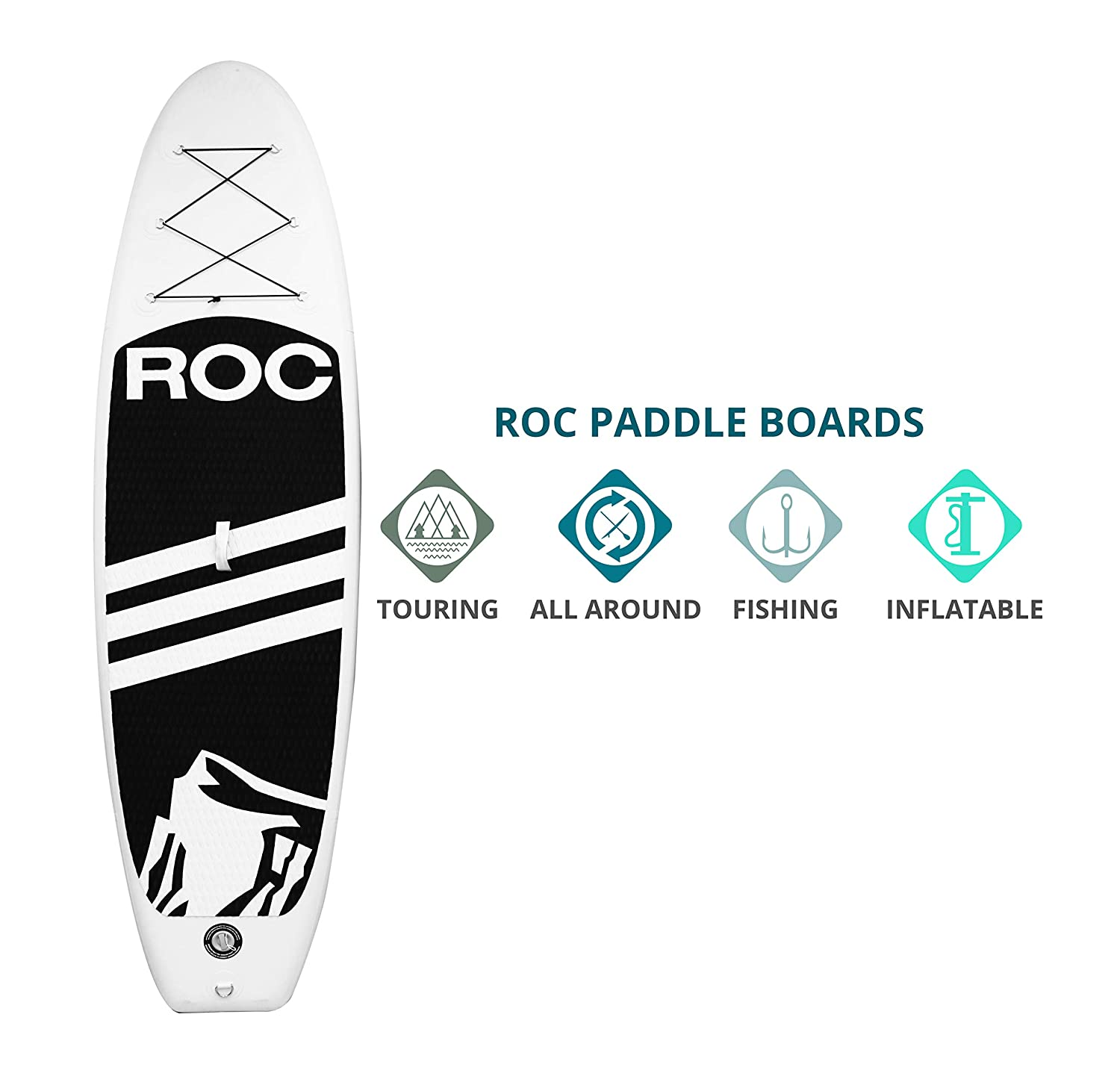 Roc Inflatable Stand Up Paddle Boards W Free Premium SUP Accessories Backpack Non-Slip Deck Bonus Waterproof Bag, Leash, Paddle and Hand Pump Youth Adult