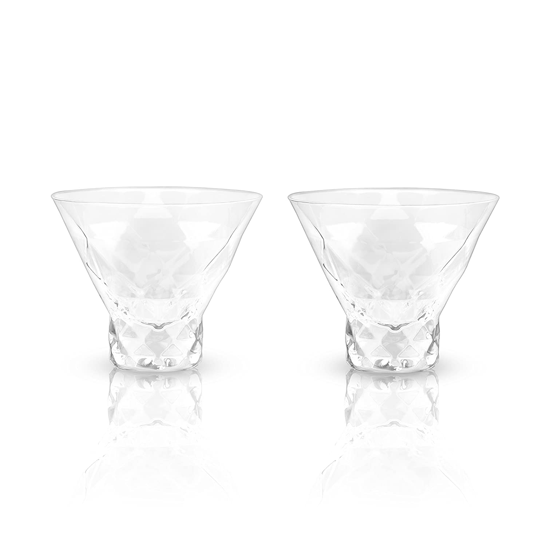 Viski 5249 Raye Gem Crystal Martini Glasses Set of 2