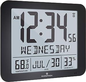 Marathon Slim Atomic Full Calendar Wall Clock with Large 3.25