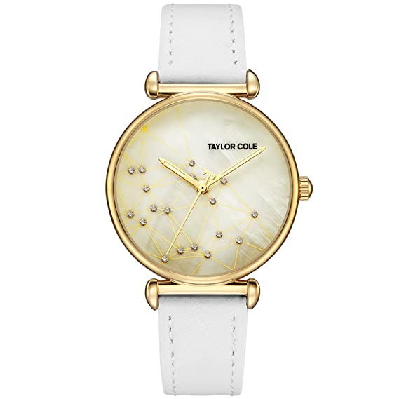 Taylor Cole Reloj Mujer de Moda con Correa de Cuero Analógico Cuarzo Reloj de pulsera Blanco TC142: Amazon.es: Relojes