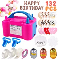 Balloon Pump,132 PCS Electric Balloon Blower 110V 600W Portable Dual Nozzles Electric Balloon Air Pump Electric Balloon Inflator with 90 PCS Balloons, Tying Tools, 20 Flower Clips, Tape Strip, Colored Ribbon and Dot Glues for Party Decoration