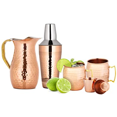 Chef's Star 6 Piece Copper Bar Tools Set - (2x) 18oz Moscow Mule Mugs - 2 Shot Glasses - 25.3 oz Shaker - 50.7 oz Pitcher