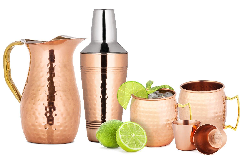 Chef's Star 6 Piece Copper Bar Tools Set - (2x) 18oz Moscow Mule Mugs - 2 Shot Glasses - 25.3 oz Shaker - 50.7 oz Pitcher
