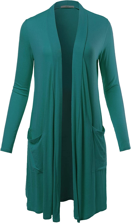 Women's Lightweight Open Front Pocket Long Length Long Sleeve Rayon Spandex Cardigan