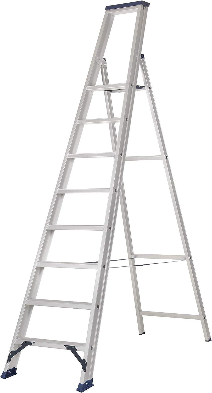 Escalera de tijera con plataforma, fabricada en aluminio de la mayor calidad, según UNE-EN 131 (7 peld. + plat.): Amazon.es: Bricolaje y herramientas