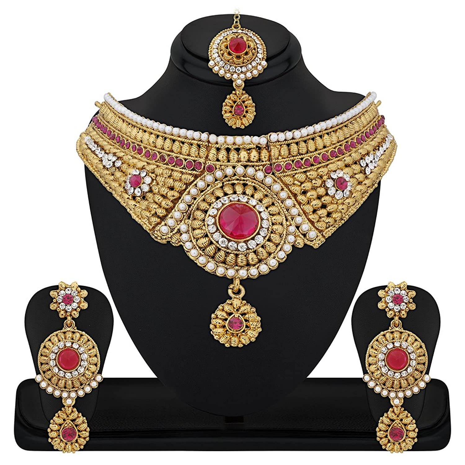Buy Reeva Apara Gold Plated Beautiful Necklace Set With Maang ...