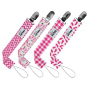 Premium Pacifier Clip by Ana Baby for Girls-4 Pack Stylish Design-Teething Ring Holder,Perfect Baby Shower Gift Set