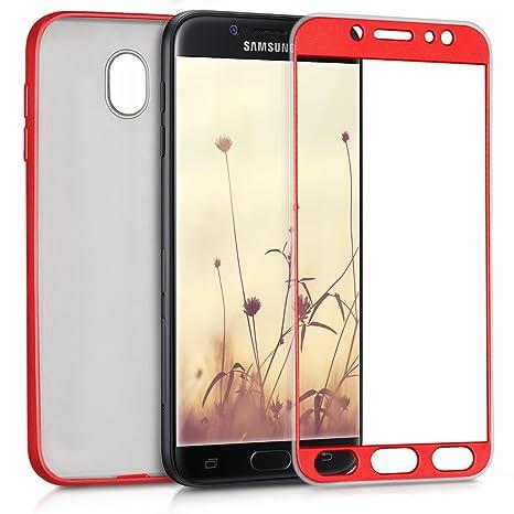 kwmobile Funda para Samsung Galaxy J7 (2017) DUOS - Carcasa [Doble] de [TPU] - Case de [ambas Caras] para móvil en [Rojo Oscuro Metalizado]
