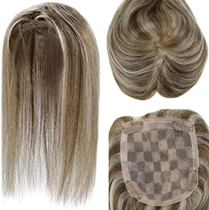 """LaaVoo 8"""" Hair Toppers para Mujeres Cabello Humano 100% Remy Clip ..."""