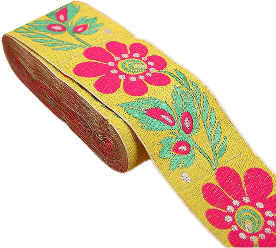 """7 Yards 2"""" Sunflower Jacquard Ribbon Floral Embroidered Woven Trim Vintage Fabric Bias Tape for Home Decor Embellishment (Yellow)"""