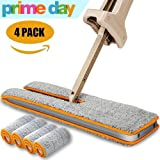 FRMARCH Double Sided Flat Mop Easy Self Wringing Microfiber 360 Lazy Flip Floor Mop Handwash Free Wet and Dry Floor Cleaning Mops (A Total Of 4 Mop Cloth)
