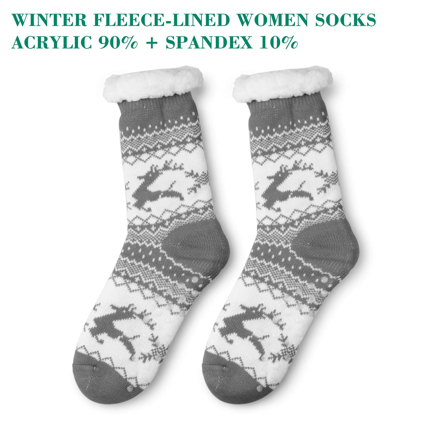 SEVENS 2 Pairs Women\'s Socks Winter Super Soft Cozy Fuzzy Christmas Gift Slipper Socks With Grippers (Black and Grey)
