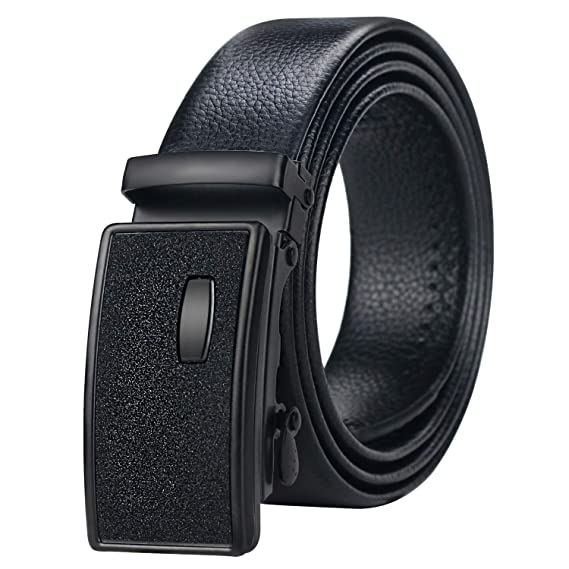 New faux leather Men/'s Belt Adjustable strap Black with Silver buckle formal