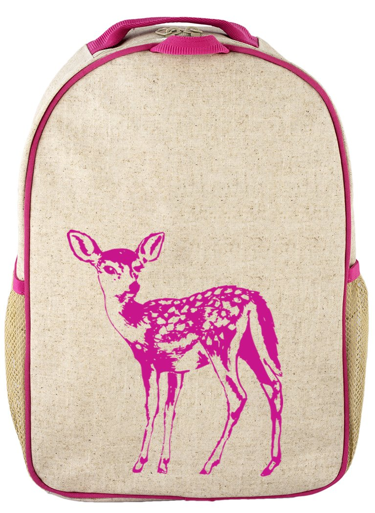 SoYoung Raw Linen Toddler Backpack, Pink Fawn
