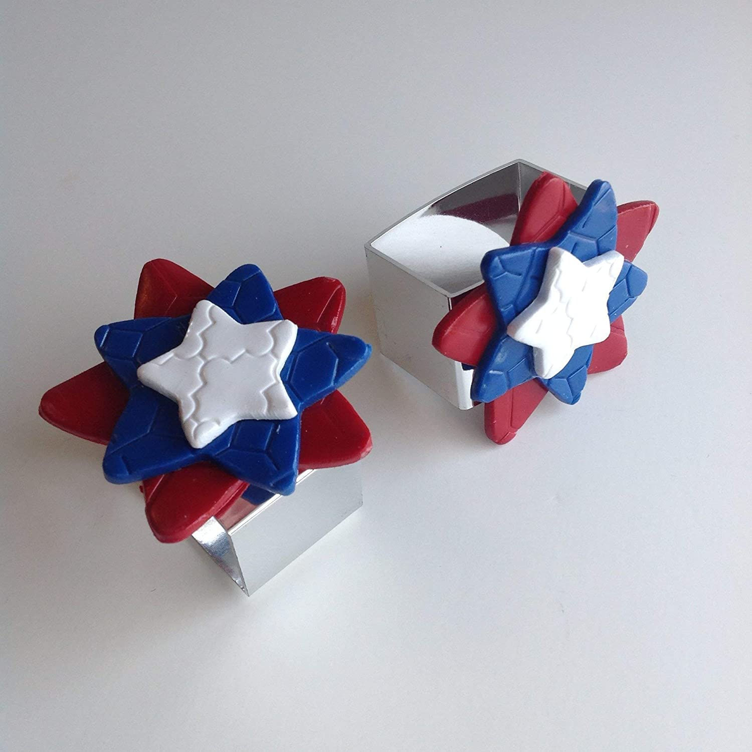 Red White and Blue Star Napkin Ring