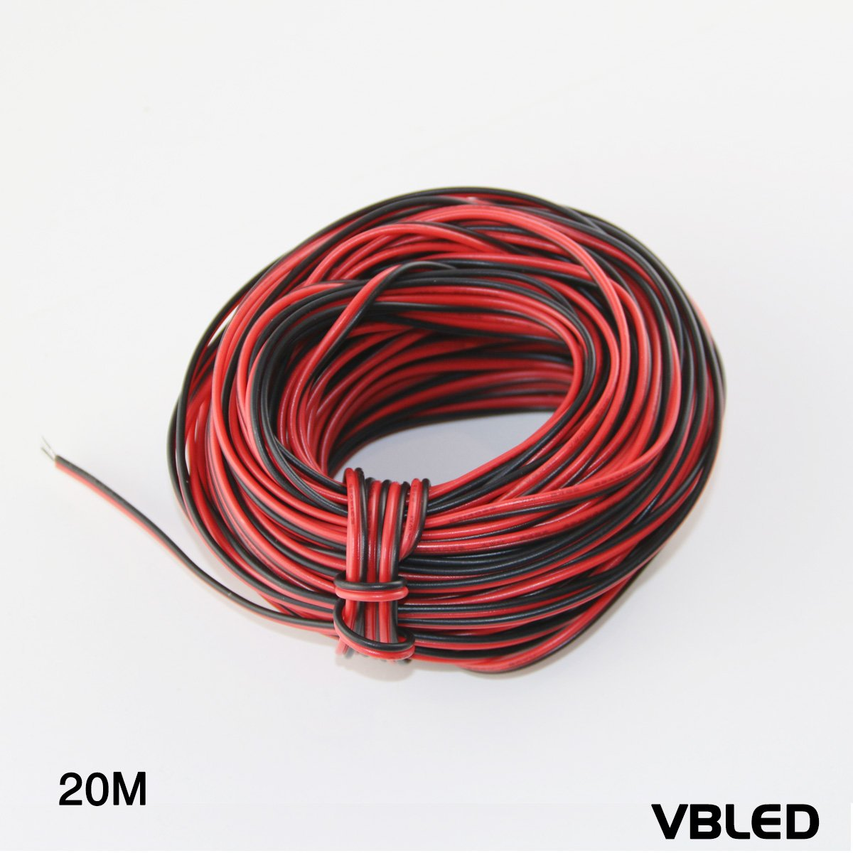 VBLED 20meter - 12 Volt Verlängerungskabel - Schwarz/Rot - 12V Kabel ...