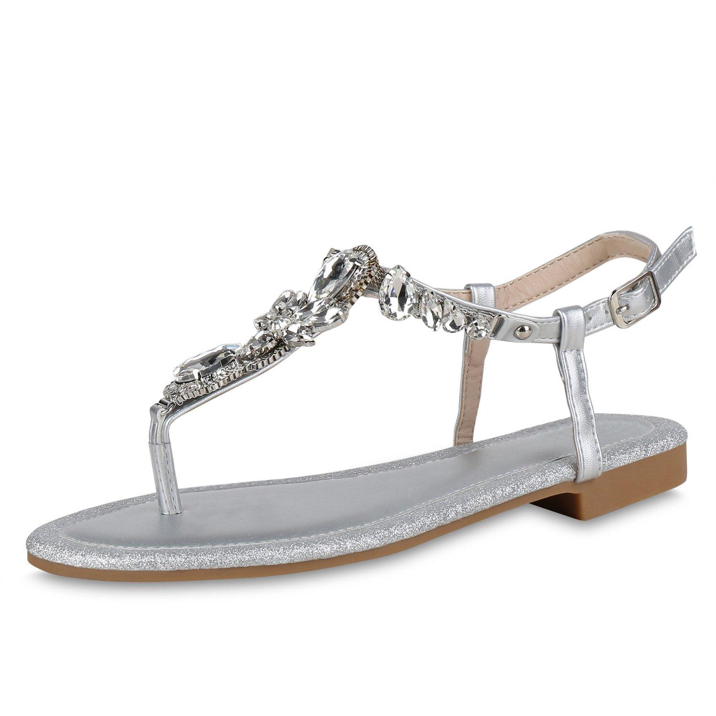 SCARPE VITA Damen Sandalen Zehentrenner mit Blockabsatz Ketten Strass  37 EU|Silber Strass